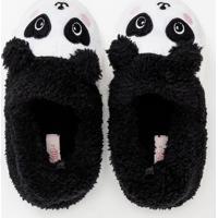 Pantufa Infantil Com Bordado Panda - Tam 19 A 28
