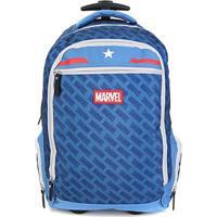 Mochila Escolar Dmw Capitão América Gl C/ Rodinhas - Masculino-Azul