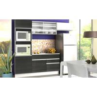 Cozinha Modulada Completa 4 Módulos Com Paneleiro 100% Mdf Branco/Ébano - Glamy