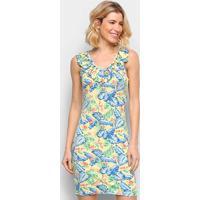 Vestido Efa Floral Babados - Feminino-Amarelo