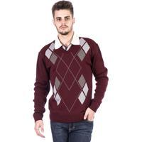 Blusa Tricot Malhas Carlan Losango Masculina - Masculino-Bordô