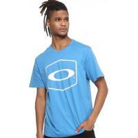Camiseta Oakley Hexagonal Masculino - Masculino-Azul