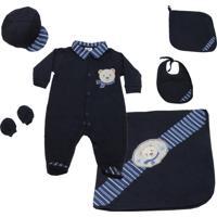 Saída Maternidade Asas De Anjo Urso Menino Azul Marinho