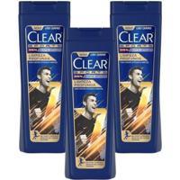 Kit 3 Shampoos Anticaspa Clear Men Limpeza Profunda 400Ml - Unissex