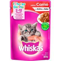 Ração Para Gatos Whiskas Filhotes 2-12 Meses Sachê Sabor Carne Ao Molho Com 85G