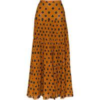 Johanna Ortiz Tiered Graphic-Print Maxi Skirt - Marrom