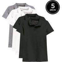 Kit De 5 Camisas Polo De Várias Cores Feminino - Feminino-Preto+Branco