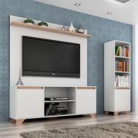 Conjunto De Rack Com Painel Para Tv Até 50 Polegadas E Estante Friso Ii Branco E Siena