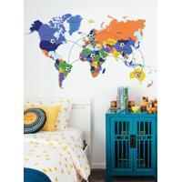 Adesivo Decorativo Stixx Mapa Mundi Gol Laranja