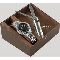 Kit De Relógio Analógico Mondaine Masculino + Canivete - 99191G0Mvne1Ka Prateado - Único
