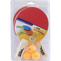 Kit De Tênis De Mesa Belfix Com 3 Bolinhas + 2 Raquetes
