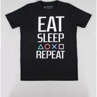 "Camiseta Juvenil Playstation ""Eat Sleep Repeat"" Manga Curta Preta"