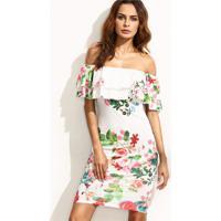Vestido Curto Floral Tomara Que Caia - Branco M