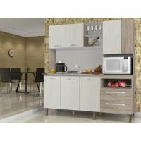 Cozinha Compacta Jade Sem Tampo Arena/Nogal - Lc Móveis