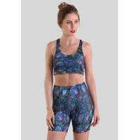 Shorts Curto Sempre Em Movimento Feminino - Feminino-Azul+Rosa