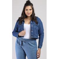 Jaqueta Jeans Feminina Cropped Com Bolsos Azul Escuro