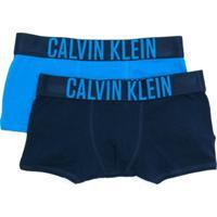Calvin Klein Kids Conjunto 2 Cuecas Boxer Com Logo - Azul