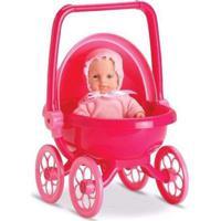 Mini Boneca - Micro Bebê Mania - Carrinho De Bebê - Vermelho - Roma Jensen