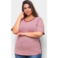 Blusa Maelle Xadrez Listras Laterais Plus Size Feminina - Feminino-Vermelho
