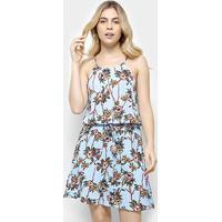 Vestido Estampado Floral Holin Stone Feminina - Feminino-Azul Claro