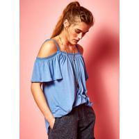 Blusa Cigana Com Renda Azul