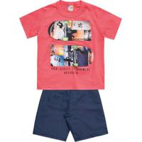 Conjunto De Camiseta + Bermuda- Coral & Azul Escuro-Brandili