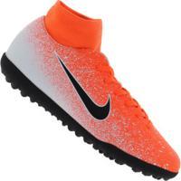 Chuteira Society Nike Mercurial Superfly X 6 Club Tf - Adulto - Laranja/Branco