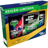 Kit Gillette Mach 3 Sensitive Aparelho De Barbear + Refil 2 Unidades Grátis Gel De Barbear 72Ml