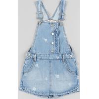 Jardineira Short Saia Jeans Infantil Estampada Floral Azul Médio