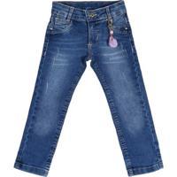 Calça Jeans Infantil Para Menina - Azul