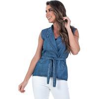 Colete Jeans Bloom Transpassado Azul