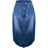 Saia Outletdri Jeans Midi Casual 10 Botões Frontais Laço Azul
