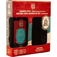 Kit Qod Barber Shop 50'S Shampoo 3 Em 1 + Carteira