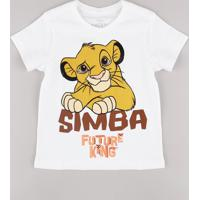 Camiseta Infantil Simba O Rei Leão Manga Curta Off White