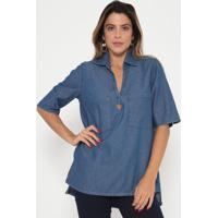 Blusa Jeans Com Bolso- Azul- My Favorite Thingsmy Favorite Things