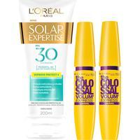 Kit 2 Máscaras De Cílios The Colossal Lavável + Protetor Solar L'Oréal Paris Fps30 200Ml - Feminino