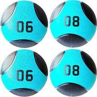 Kit 4 Medicine Ball Liveup Pro 6 E 8 Kg Bola De Peso Treino Funcional - Unissex