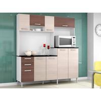 Cozinha Com 9 Portas Gisele Amêndoa/Capuccino – Lc Móveis