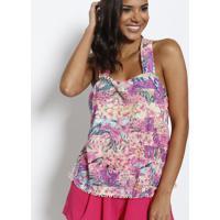Blusa Floral Com Pompons- Roxa & Amarela- Miss Bellamiss Bella