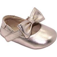 Sapato Boneca Com Tira & Laço - Dourado- Luluzinhaluluzinha