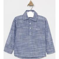 Camisa Listrada Com Bordado & Botãµes- Azul Claro & Branclook Jeans