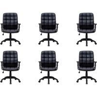 Conjunto Com 6 Cadeiras De Escritório Diretor Giratórias Com Braços Ajustáveis Fitz Preto