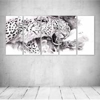 Quadro Decorativo - Jaguar Painting Art Animals - Composto De 5 Quadros