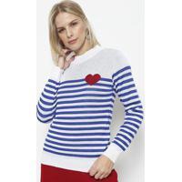 Blusa Em Tricot Listrada- Branca & Azul- Ponto Aguiaponto Aguiar