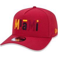 Boné 940 Miami Heat Nba Aba Curva Snapback New Era - Masculino-Vermelho Escuro