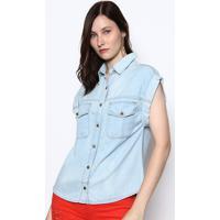 Camisa Jeans Com Bolsos- Azul Clarodimy