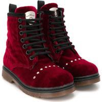 John Richmond Junior Studded Lace-Up Boots - Vermelho