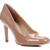 Scarpin Shoestock Verniz Salto Alto - Feminino-Nude