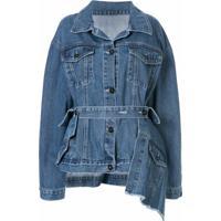 Ruban Jaqueta Jeans Com Amarração Na Cintura - Azul
