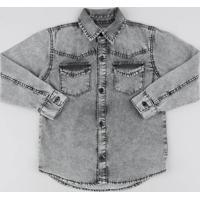Camisa Jeans Infantil Com Bolsos Manga Longa Preta